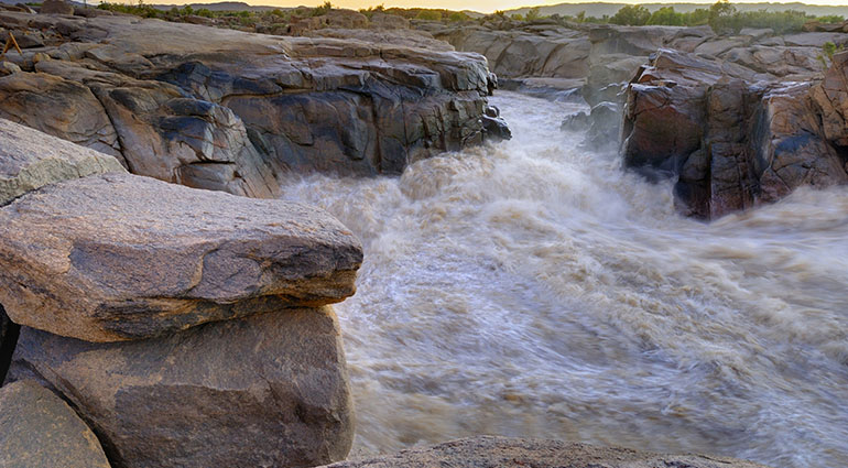 The Orange is South Africa's largest river. At Augrabies in the Northern Cape  the river channels through a granite gorge.
